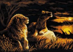 "Embroidery ""Lions in the Savannah"""