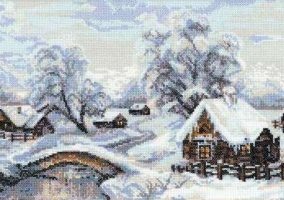 "Embroidery ""Winter village"""