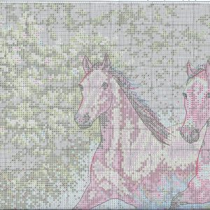 Embroidery scheme Running horses (Dimensions) 1 from 6