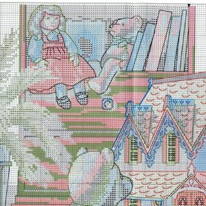Embroidery scheme over a cup of tea in the toy House (Dimensions) 1 from 4