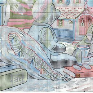 Embroidery scheme over a cup of tea in the toy House (Dimensions) 3 from 4