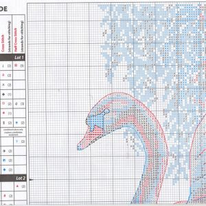 Scheme and dongle to embroidery Swan near the willow (Dimensions) 1 from 4