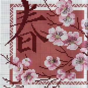 Diagram of embroidery spring Sakura (Riolis) 1 from 2