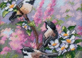 "Embroidery ""Titmouse in the spring"""
