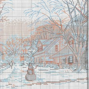 Embroidery scheme Winter on main street (Dimensions) 2 from 3
