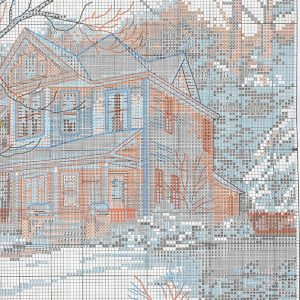 Embroidery scheme Winter on main street (Dimensions) 3 from 3