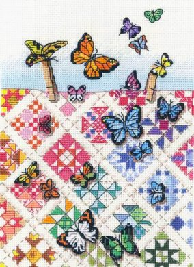 "Izšūšana ""Butterflies on Nine-Patches"""
