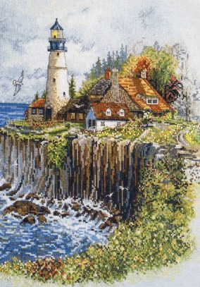 "Embroidery ""lighthouse on a cliff"""