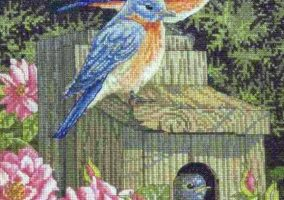 Stickerei-Garten Bluebirds""