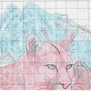 Embroidery scheme Snow Cougars (Dimensions) 1 from 4