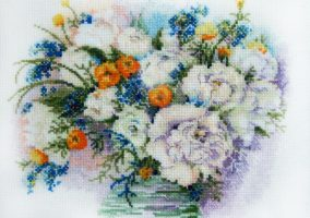 "Embroidery ""Peonies with forget-me-nots"""