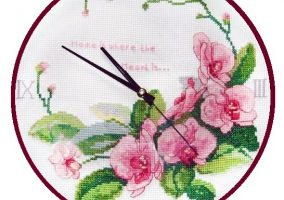 Embroidery the clock-orchids