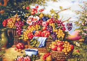 "Embroidery ""still life on nature background"""