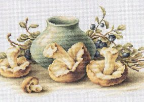 "Embroidery ""still life with mushrooms"""