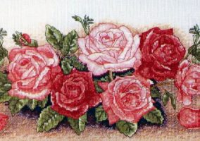 "Výšivky cross stitch ""Spray of Roses"""