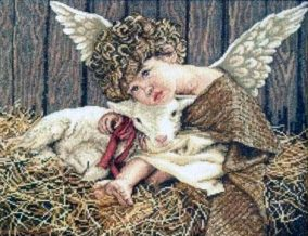 "Embroidery ""Angel with lamb"""