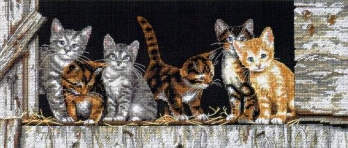 Embroidery Kittens in the backyard (Dimensions)