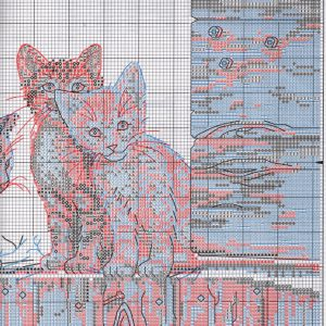 Embroidery scheme Kittens in the backyard (Dimensions) 2 from 2