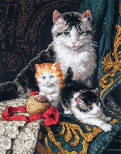 Embroidery a charming family of cats (Dimensions)