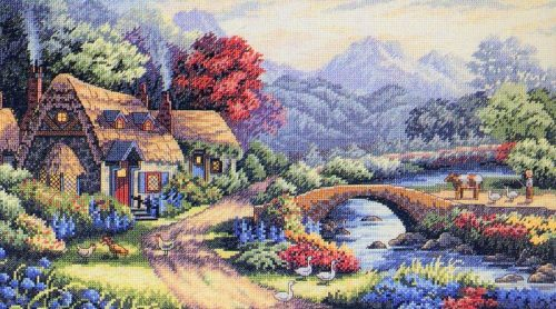 Embroidery English cottage in the Valley (Dimensions)