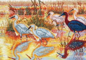 "Cross stitch ""Egrets"""