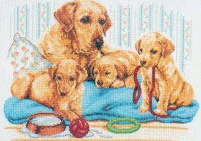 "Cross-stitch ""Labrador družina"""