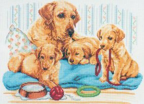 "Cross-stitch ""Labrador family"""