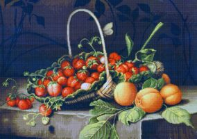 "Вышивка ""A basket of strawberries and peaches"""