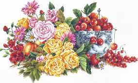 "कढ़ाई ""Perfumed Flower and Fruits"""
