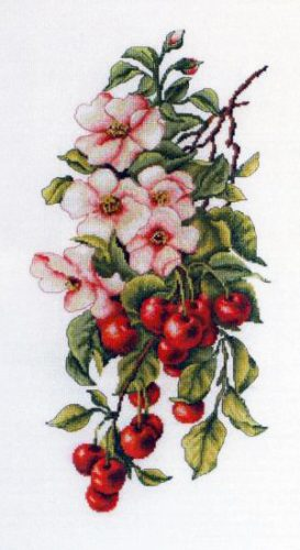 Embroidery composition with cherries (Luca-S)