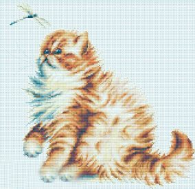 "Broderie ""Kitten with a dragonfly"""