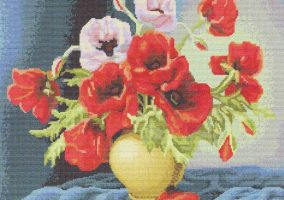 "Embroidery ""Vase with poppies"""