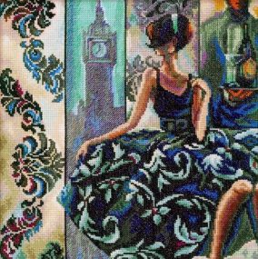 "Embroidery ""Trish Biddle – Eye-catching woman in exquisite venues"""