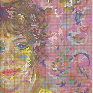 Embroidery scheme portrait of Jeanne Samary (Riolis) 2 from 4