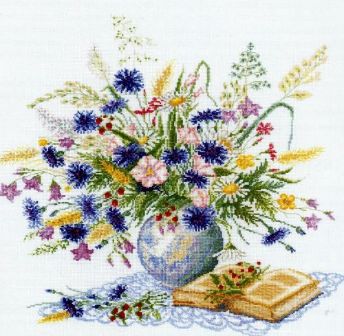 Bouquet embroidery with cornflowers (RTO)