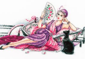 "Stickerei ""Deco Lady with Cat"""