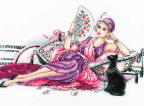 "Broderi ""Deco Lady with Cat"""