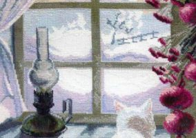"Embroidery ""Cat at the window"""
