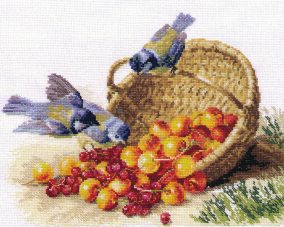 "Embroidery ""Titmouse and cherry"""