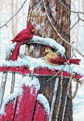"Embroidery ""Cardinals on Sled"""