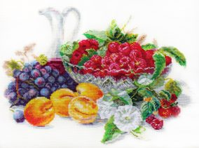 "Embroidery ""Apricot and raspberry"""