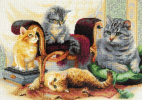 "Embroidery ""cat family"""