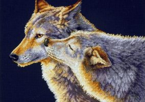 Stickerei «Wolf Kiss»