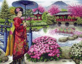 "Bordado ""The Japanese Garden"""