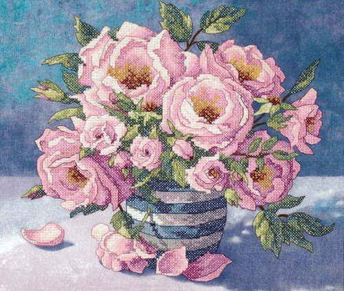 Izšūšana Roses in Striped Vase (Dimensions)
