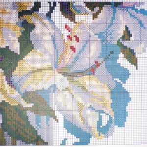 Diagram of embroidery white lilies (Riolis) 4 from 6