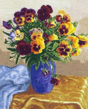 "Embroidery ""Bouquet of pansies"""