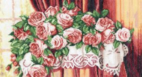"Embroidery ""Roses on the table"""
