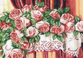 "Broderie «Roses "" sur la table»"