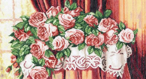 Embroidery Roses on the table